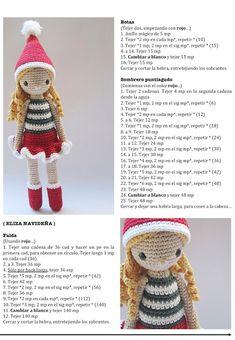 Amour Fou Crochet Eliza s Christmas suit Christmas Crochet Patterns, Crochet Christmas Ornaments, Crochet Amigurumi Free Patterns, Holiday Crochet, Crochet Doll Pattern, Christmas Knitting, Free Crochet, Doll Patterns Free, Crochet Crafts