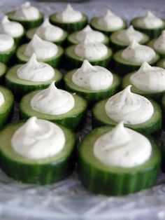 Herbed Cheese Cucumber Medallions ~ Says: In this quick and easy appetizer, cool, crisp cucumbers are the perfect vehicle for a creamy, flavorful cheese filling. They're ready in no time, and they're guaranteed to be a hit at your next gathering!