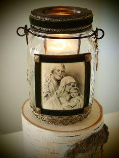Rustic Mason Jar Votive Lantern Holy Family Christmas Decor