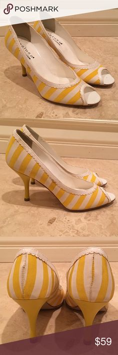 """PELUSO White Yellow Stripe Leather Pump Heel Italy PELUSO White Yellow Striped Leather Textile Open Toe Classic Pump Heels Italy 35M. Measurements: Heel Height: 3.5"""" Length: 9.5"""" Width: 4""""  Worn only once. Cute Spring Summer Heels in Excellent Condition. Shoes some Very Light Wear. From a Smoke & Pet Free Home. Please see Pictures & Measurements. PELUSO Shoes Heels"""