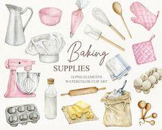 Planner Stickers, Logo Boulangerie, Sweets Clipart, Brand Identity Design, Branding Design, Cooking Clipart, Kitchen Clipart, Arts Bakery, Art Rose