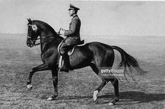 German Trainer Captain Viebig of the Hanover Cavalry School riding the East Prussian 'Gimpel' who won a gold medal in the 1936 Berlin Olympics, Team Dressage, ridden by Hermann von Oppein-Bronikowski.