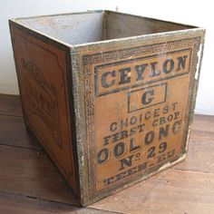 Vintage Antiqued Wooden Box Crate Indian Tea Chest