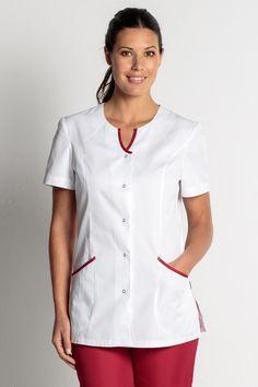 Tunique médicale blanche et rouge - Tunique Infirmiére - mylookpro.com Staff Uniforms, Work Uniforms, Salon Wear, Beauty Uniforms, Hotel Uniform, Scrub Tops, Blouse Designs, Work Wear, Chef Jackets