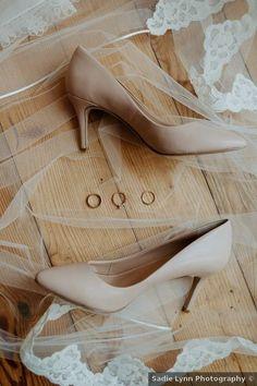 Neutral wedding shoes ideas - bride, heels, low, nude, blush {Sadie Lynn Photography}