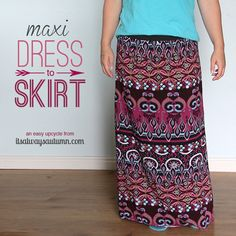 turn an unflattering maxi dress into a cute skirt with this super easy step by step sewing tutorial.