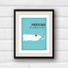 Puerto Rico Art  Puerto Rico Map  San Juan by PaperFinchDesign, $20.00