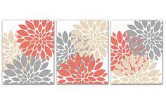 Coral Gray and Beige Tan Flower Burst Print Trio Wall Art Room Decor Set of 3 8x10 Prints 158(ab)