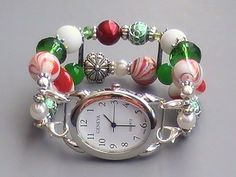 Red, White and Green Holiday Interchangeable Watch, Beaded, Stretchy