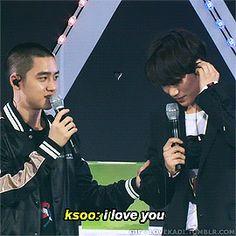 "lovekadi: Green Nature Republic Fan Festival - Kaisoo: ksoo was supposed to say ""i love you"" but he said ""i don't love you"" instead; Kaisoo, Kyungsoo, Chanyeol, Bts And Exo, Exo Kai, Exo Couple, Kim Junmyeon, Kim Jong In, Got7"