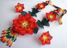 Mexican Huichol Beaded Flower Necklace and Earrings set by Aramara The Snake, Huichol Art, Mexican Designs, Native Beadwork, Native American Beading, Loom Beading, Flower Necklace, Beaded Flowers, Bead Art