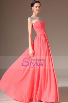 2014 Round Neckline Beaded Tulle Top Pleated Bodice Prom Dress A Line With Chiffom Skirt Floor Length USD 143.99 STPT82GE8E - StylishPromDress.com