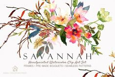Savannah - Watercolor Floral Set by SmallHouseBigPony on @creativemarket