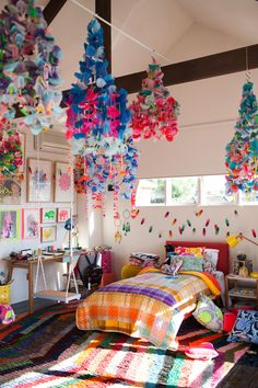 The Design Files Open House, Melbourne. Kids bedroom.  It's MADNESS in there.  Hanging chandelier mobiles by Emily Green.  photo - John Deer.