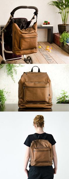 Diaper bag backpack, Changing bag, Baby backpack diaper bag, Baby nappy bag, Brown canvas backpack, Unique diaper bags, Unisex diaper bag.