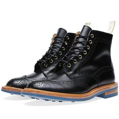Tricker's x END. Stow Brogue Boot (Black & Federal Blue)