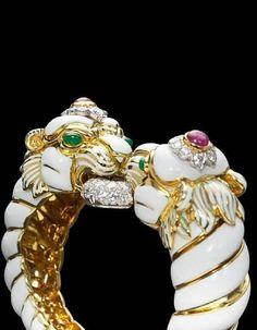 An enamel, diamond, ruby and emerald bangle bracelet, David Webb An enamel, diamond, ruby and emerald bangle bracelet, David Webb