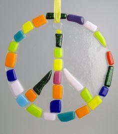 Fused glass peace sign suncatcher