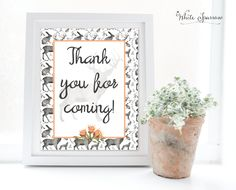Thank you for coming sign, thank you sign, woodland bridal shower, signs for wedding, woodland wedding decorations, woodland baby shower by WhiteSparrowPrints on Etsy