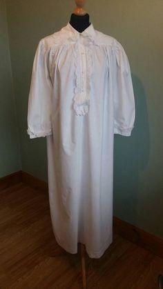 Antike viktorianische Nachthemd Baumwolle Langarm