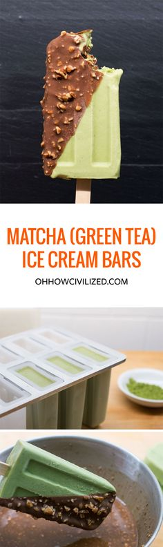 MATCHA (GREEN TEA) ICE CREAM BARS WITH MAGIC CHOCOLATE AND TOASTED ALMOND SHELL
