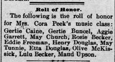 Reno Gazette-Journal, 10 Mar 1892, Thu, Main Edition  Gertrude Buncel (Gertie) makes roll of honor in music class