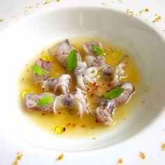 Ricetta per la realizzazione di calamaretti in brodo di curcuma al profumo di menta.