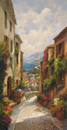 Paintings I Love, Beautiful Paintings, Pintura Colonial, Artist Art, Landscape Art, Oeuvre D'art, New Art, Amazing Art, Watercolor Paintings