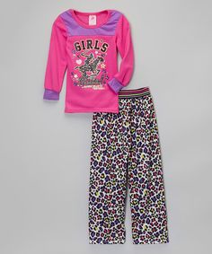 Pink 'Girls Rule' Pajama Set - Girls by Beverly Hills Polo Club #zulily #zulilyfinds