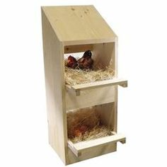 Wood Poultry Laying Nest Box - 2 Holes - Wood, Pine - Hen Chicken Nesting Laying Box