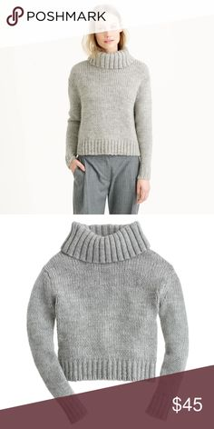 """J. Crew Chunky Turtleneck Size Large Gray --Style B5875 --Brand new with tags --We've never met a turtleneck we didn't like, but we're especially keen on this one, made from warm Italian wool blended with soft alpaca. The body is slightly boxy, but our favorite detail is the rolled neck: It's slightly oversize and perfectly suited for freezing-cold days   25% Alpaca; 45%wool; 30% acrylic. Rib trim at neck, cuffs and hem. approx 21.5"""" long and 25"""" across armpits J. Crew Sweaters Cowl…"""