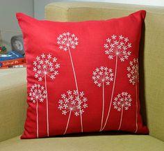 Off White Queen Ann Throw Pillow Cover, Decorative pillow cover, Off White Flower Red Linen, Embroidered Pillow, Pillow Case Cushion Embroidery, Hand Embroidery, Embroidery Designs, Red Pillows, Floral Pillows, Shabby Chic Pillows, Cushion Cover Designs, Cushion Covers, Decorative Pillow Covers