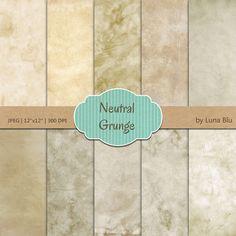 Grunge Digital Paper: Neutral Grunge Backgrounds by Lunabludesign