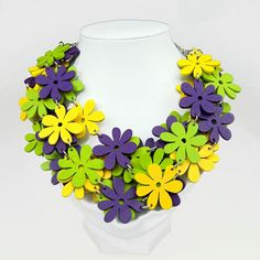 Necklace with wooden flowers Romantic C484 Gift for her Colorful necklace Wooden necklace Boho Eco  jewelry Colorful necklace https://www.etsy.com/listing/535719336/necklace-with-wooden-flowers-romantic?ref=related-1