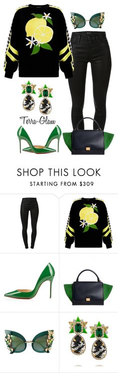 """""""Lemonade!!"""" by terra-glam ❤ liked on Polyvore featuring J Brand, Emma Cook, Christian Louboutin, Dolce&Gabbana and Galaxy Gold"""