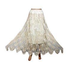 Amazon.com: Women's Crochet Skirt Ivory Crocheted Lace Bohemian Gypsy Long Skirts 36inch: Clothing  $36.99