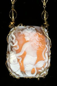 Galene, Goddess of the Sea by Natalie Baroni jewelry -- hand carved cameo shell amulet