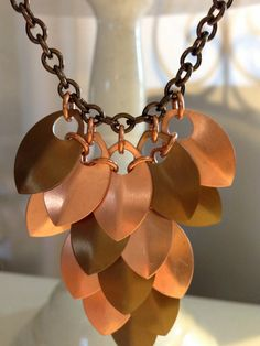 Lovely and unique, two-tone necklace in a feather-like pattern. Copper & Bronze Scale mail Necklace. Great look with jeans, casual or outfits