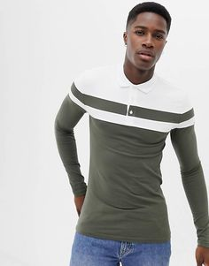 d4b95e2d ASOS DESIGN muscle fit long sleeve polo shirt with contrast sleeve and body  panels Long Sleeve