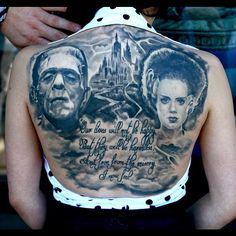 #Frankenstein #bride #blackngrey #tattoo #tattoos #tattooing #art #artist #horror #todo #abttattoo #monster #woman #castle - @todo911- #webstagram
