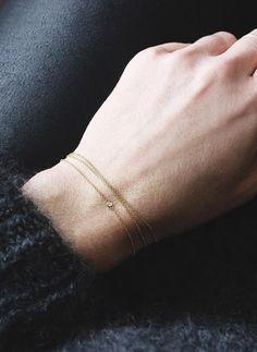 minimal jewelry--Solitaire Bracelet, Vrai & Oro