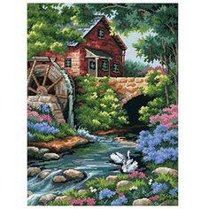 Dimensions Crafts - Old Mill Cottage Needlepoint Kit # 2484 Cross Stitch House, Cross Stitch Charts, Cross Stitch Designs, Cross Stitch Patterns, Ribbon Embroidery, Embroidery Art, Cross Stitch Embroidery, Cross Stitch Landscape, Embroidery Designs