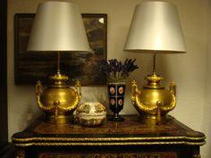 Bronze vergoldet Prunklampen Paar Louis XVI Tischlampen Gründerzeit Historismus in Antiquitäten & Kunst, Metallobjekte, Bronze | eBay
