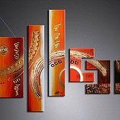 Картины и панно ручной работы. Ярмарка Мастеров - ручная работа Абстракция золотисто-красная. Handmade.