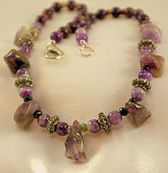 Amethyst and Watermelon Tourmaline Necklace  by BlingbyDonna, $35.00