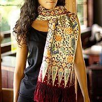 Silk batik scarf, 'Crimson Paradise'