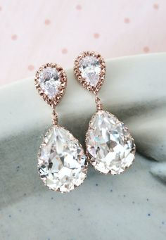 Rose Gold Bridal Crystal Teardrop Earring - gifts for her, bridal gifts, drop dangle, pink gold weddings, bridesmaid earrings,  by ColorMeMissy, www.colormemissy.com