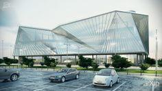 BMW showroom in Kiev (Ukraine) - Front view: архитектура, зd визуализация, хай-тек, 6-12 эт | 18-36м, 5000 м2 и более, автосалон, дилерский центр, каркас - ж/б, здание, строение, фасад - стекло, архитектура #architecture #3dvisualization #hitech #612floors_1836m #5000m2иболее #cardealer #dealership #frame_ironconcrete #highrisebuilding #structure #facade_glass #architecture arXip.com