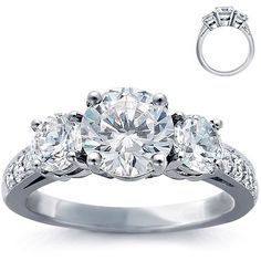 THIS IS MY RIIIIIINNNNGGGGG!!!! #LoveOnTop Three-stone-pave-diamond-ring-platinum
