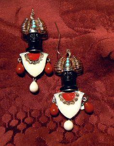 Vintage Earrings Blackamoor gold 14 kt diamond rose cut coral turquoises head in clay sculpture enamel - Dogale jewellery Venice Italia